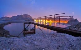 Bluehour en la playa de Muscat Fotografía de archivo libre de regalías
