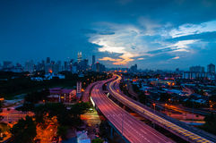 Bluehour from Jelatek with KLLC view. This picture taken from Jelatek Flat view KLCC with AKLEH leading line highway during blue hour royalty free stock photography