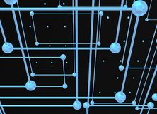 BlueInterconnections avec des boules au-dessus de fond noir de gare illustration de vecteur