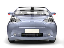 Blueish metallic small urban modern electric car - front closeup Royalty Free Stock Photography
