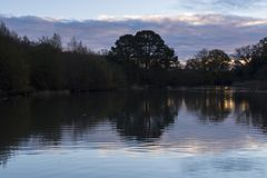 Just after dawn on the Ornamental Pond, Southampton Common royalty free stock photography