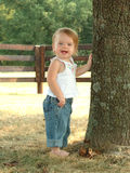 Bluejean Baby. Toddler outdoors with hand on tree dressed in bluejeans Royalty Free Stock Photos