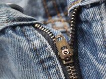 BlueJeans Zipper. Closeup view of BlueJeans zipper royalty free stock image