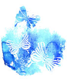 Bluel background with watercolor butterfly Stock Photos