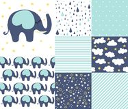 Set of baby shower patterns. Seamless pattern vector. Baby elephant vector set. stock illustration