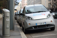 Bluely, electrical car sharing Stock Photos