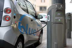 Bluely, electrical car sharing royalty free stock images