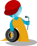 Blueman MECHANIC illustration. Cartoon mechanic with tolls  illustration Royalty Free Stock Image