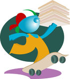 Blueman PIZZA DELIVERY. A cartoon boy delivering a pizza with skateboard stock illustration