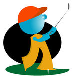 Blueman play golf. Humanoid hold bat and play golf illustration Royalty Free Stock Photos