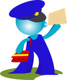 Blueman Postman delivers mail. Postman delivers mail cartoon illustration Stock Images