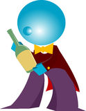 Blueman waiter present wine isolated. Waiter present wine cartoon illustration Royalty Free Stock Photos