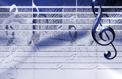 BLueMusical Background. Blue Musical Background wit notes and music symbols Stock Images