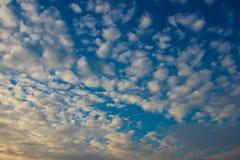 bluen clouds den fluffiga skyen Arkivfoto