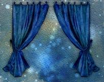bluen hänger upp gardiner vattenfärg Royaltyfri Bild
