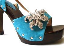 bluen shoes kvinnan Arkivbild