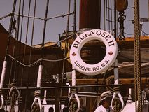 Bluenose. The Bluenose ship as displayed with a life preserver bearing its name.  This picture was taken on the deck of the Stock Photography