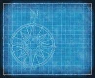 Bluepriint du nord de flèche de carte de compas Photographie stock libre de droits