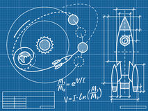Blueprint. Of the spaceship and its flight path Stock Photos