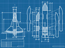 Blueprint. Vector illustration - Blueprint of the spaceship Stock Photo