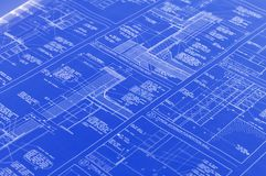 A blueprint. A blue with white text print Stock Image