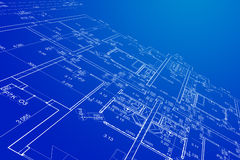 Blueprint. Part of a blueprint in three-dimensional view stock image