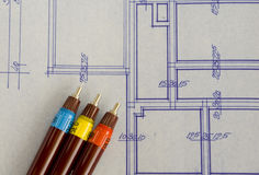Blueprint. Of house with rapidographs Royalty Free Stock Photography
