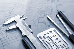 Blueprint. Tools of design on the blueprint Stock Photos