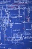 Blueprint. Closeup of a blueprint, vertical orientation stock images