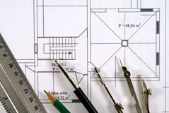 Blueprint. Tools for design on the blueprint Royalty Free Stock Images