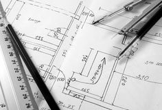 Blueprint. Tools for design on the blueprint Stock Photography