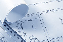 Blueprint. Tools for design on the blueprint Royalty Free Stock Photos