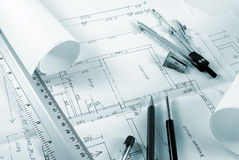 Blueprint. Tools for design on the blueprint toned green Royalty Free Stock Image