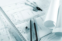 Blueprint. Tools for design on the blueprint toned green Royalty Free Stock Photography