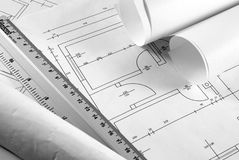 Blueprint. Photo of a couple blueprints and ruler Royalty Free Stock Photo