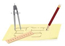 Blueprint. Pencil, ruler, compasses on a architecture blueprint, vector illustration Stock Image
