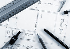 Blueprint. Tools for design on the blueprint Royalty Free Stock Image