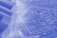 Blueprint construction Royalty Free Stock Photo