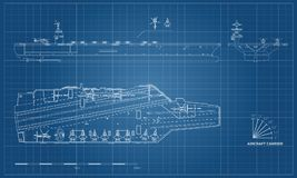 Blueprint of aircraft carrier. Military ship. Top, front and side view. Battleship model. Warship in outline style. Blueprint of aircraft carrier. Military ship Royalty Free Stock Image