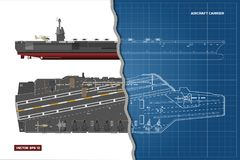 Blueprint of aircraft carrier. Military ship. Top, front and side view. Battleship model. Warship in outline style. Blueprint of aircraft carrier. Military ship Stock Image