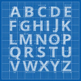 Blueprint alphabet. Vector drafting paper letters Stock Image