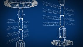 Blueprint animated, abstract technical drawing moves vertically, seamless loop, cg animation