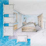 Blueprint of apartment bedroom Royalty Free Stock Photo