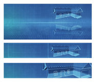 Blueprint architect banners. Three blueprint architect banners for web site Stock Photo