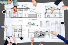 Blueprint Architect Construction Project Sketch Concept Stock Photos