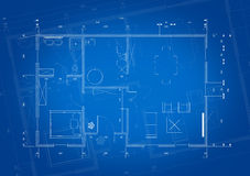 Blueprint of architect plan for house construction Stock Photography