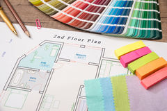 Blueprint of architectural drawing and color palette Stock Photography