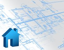Blueprint architectural map and 3d house model. Illustration Royalty Free Stock Photo