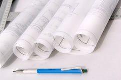 Blueprint architecture files Stock Photos