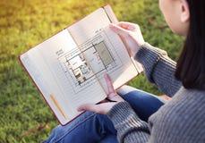 Blueprint Architecture Interior Design Structure Development Con Stock Image